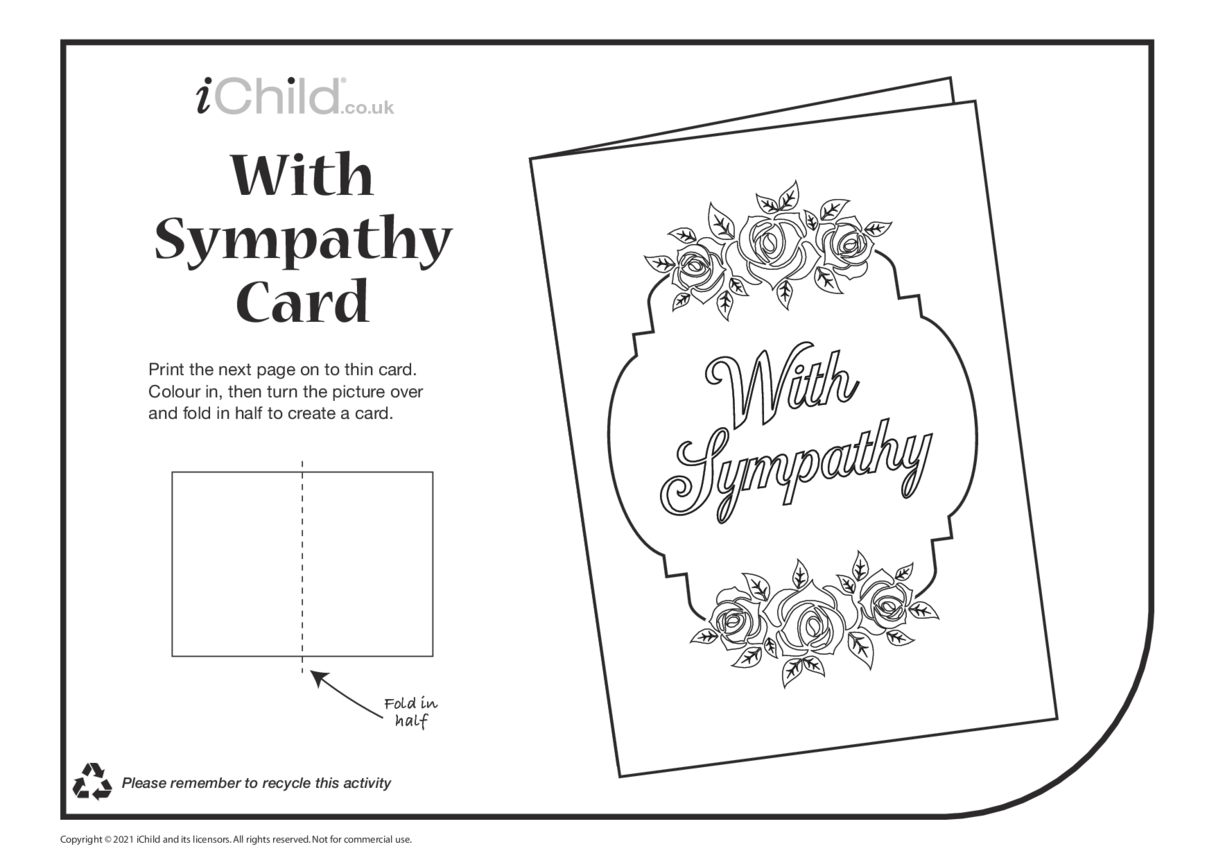Sympathy Card with Roses (black & white)