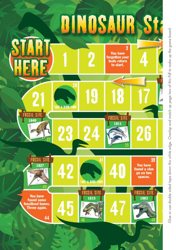 Primary 5) Dinosaur Stamp Challenge- Game 2x A4