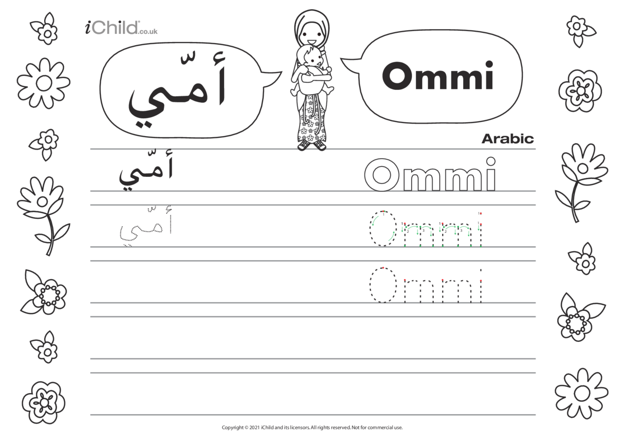 Mummy in Arabic Script Handwriting Sheet