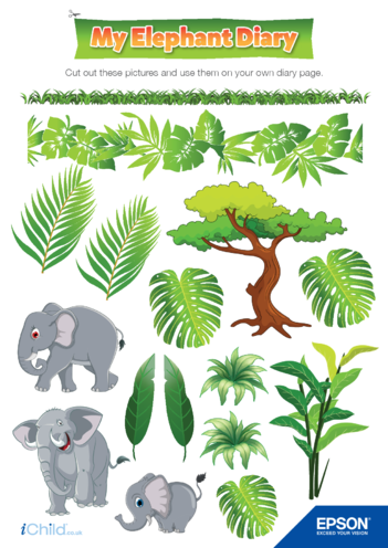 Thumbnail image for the 3) Epson Elephant Diary Page Decorations activity.
