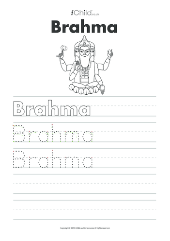 Thumbnail image for the Brahma Handwriting Practice Sheet activity.