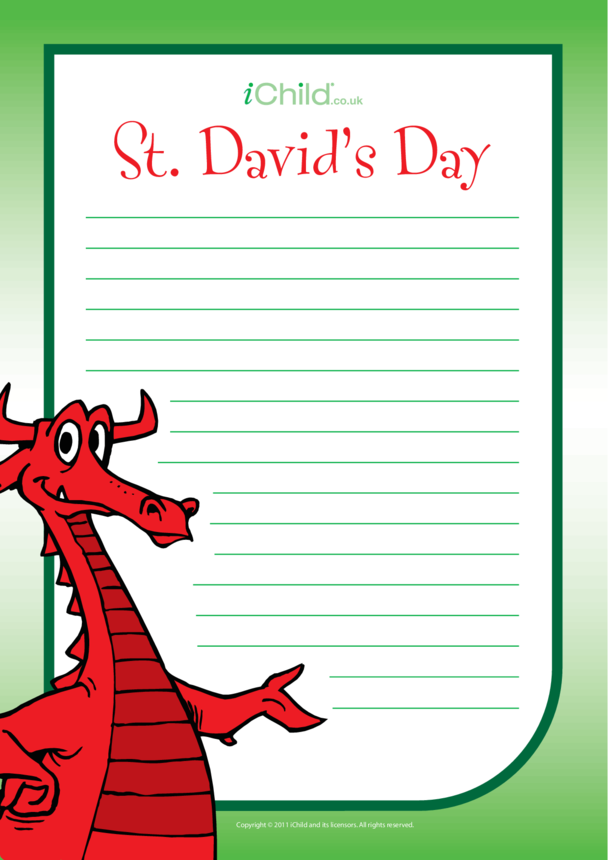 St. David's Day Lined Writing Paper Template- Dragon