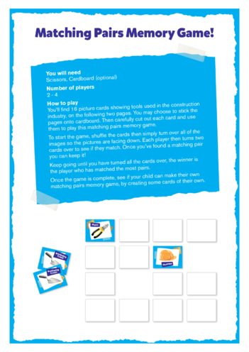 Thumbnail image for the Elephant & Castle Activity: Matching Pairs Memory Game activity.