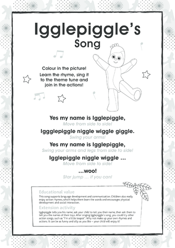 Thumbnail image for the Igglepiggle's Song, Black & White activity.