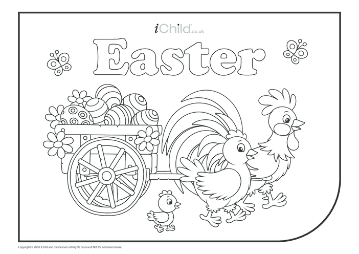 Thumbnail image for the Easter Colouring in Picture - Chickens & Eggs activity.