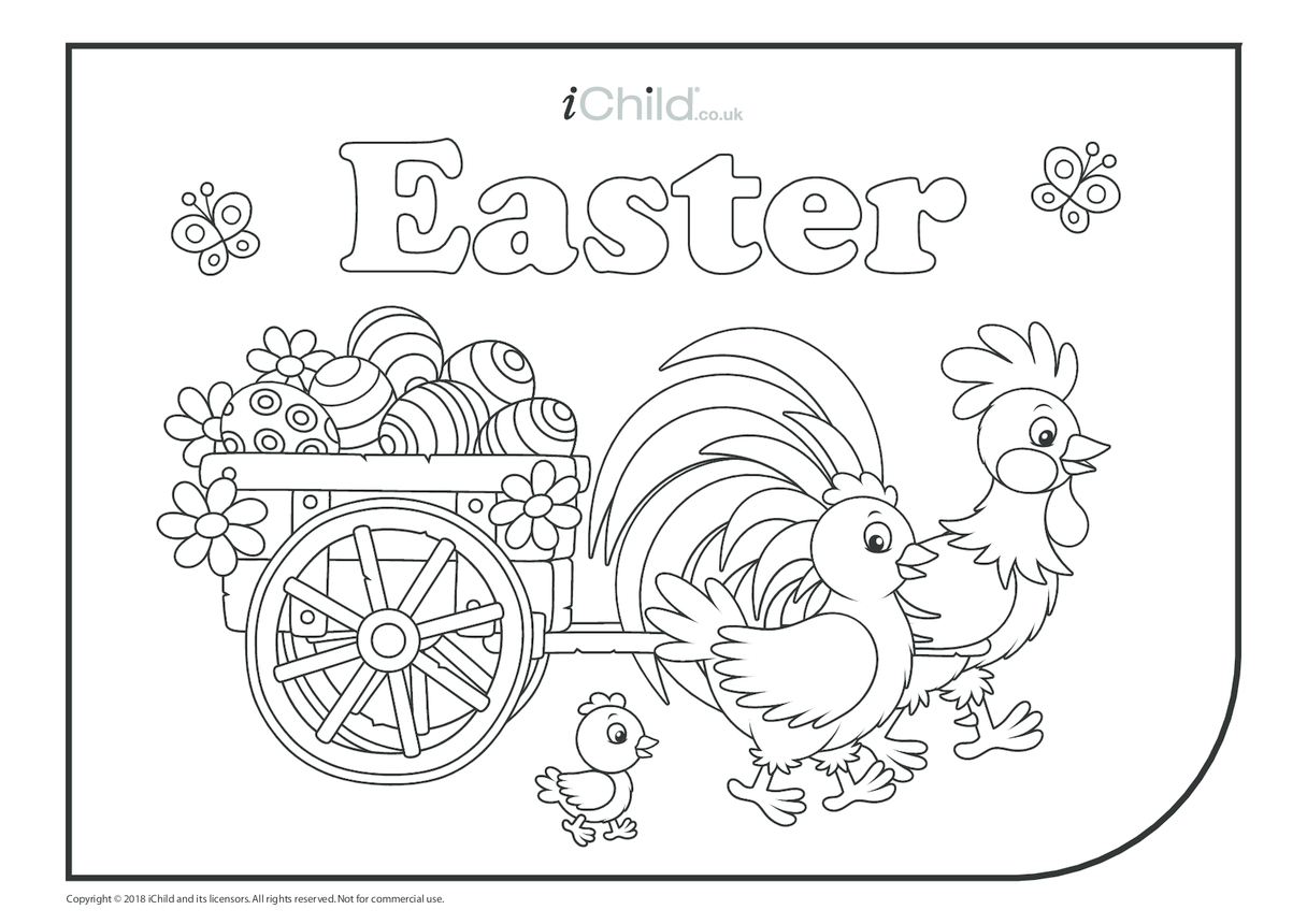Easter Colouring in Picture - Chickens & Eggs