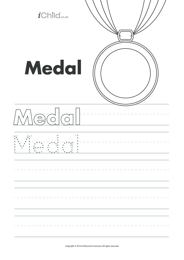 Medal Handwriting Practice Sheet