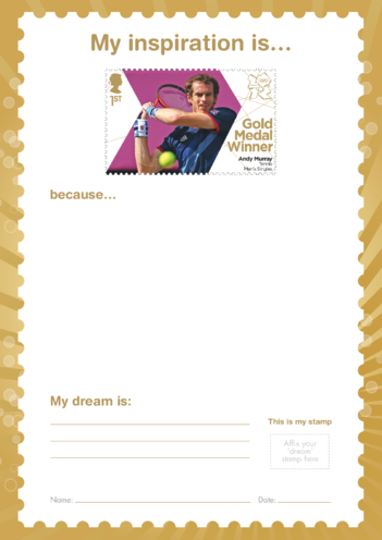 Thumbnail image for the My Inspiration Is- Andy Murray- Gold Medal Winner Stamp Template activity.