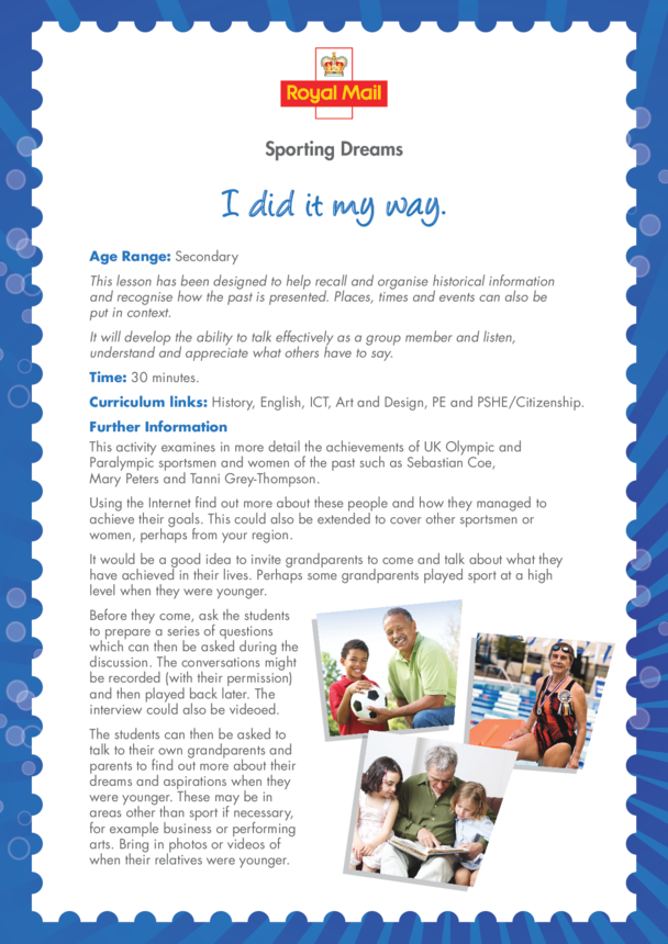 Secondary 2) I Did it My Way Lesson Plan