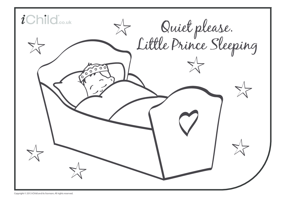 Little Prince Sleeping Colouring In Picture/Poster