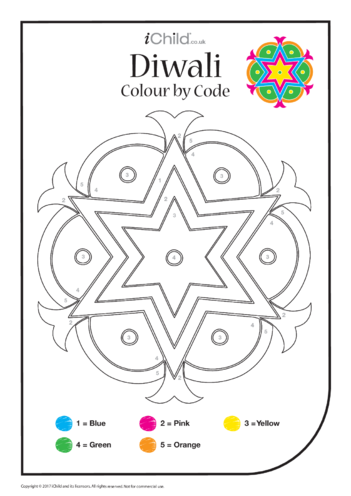 Thumbnail image for the Diwali: Colour by Code (2nd pattern) activity.