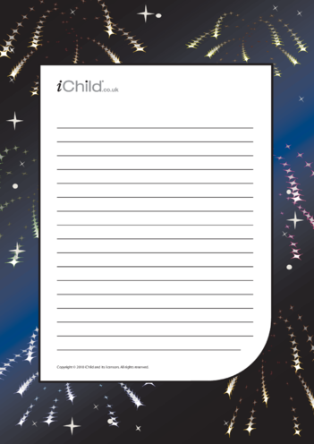 Thumbnail image for the Bonfire Night Lined Writing Paper Template activity.