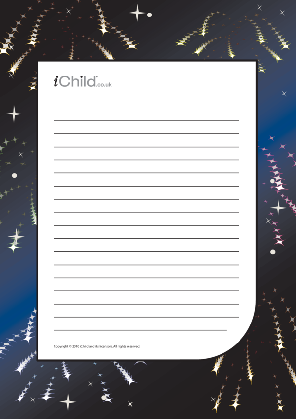 Bonfire Night Lined Writing Paper Template