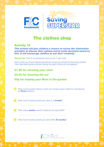Thumbnail image for the 5-7 years (ten) The Clothes Shop activity.