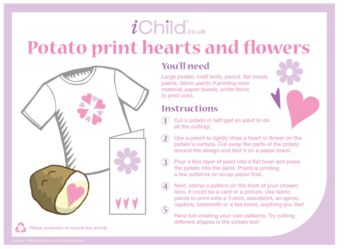 Potato Print Hearts/Flowers