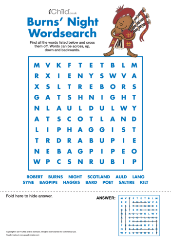 Thumbnail image for the Burns' Night Wordsearch activity.