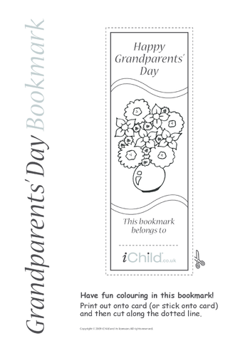 Thumbnail image for the Grandparents' Day Flower Bookmark activity.
