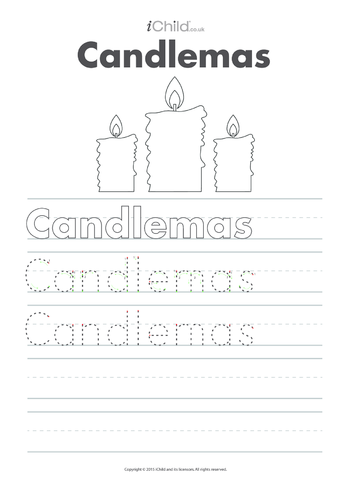 Thumbnail image for the Candlemas Handwriting Practice Sheet activity.