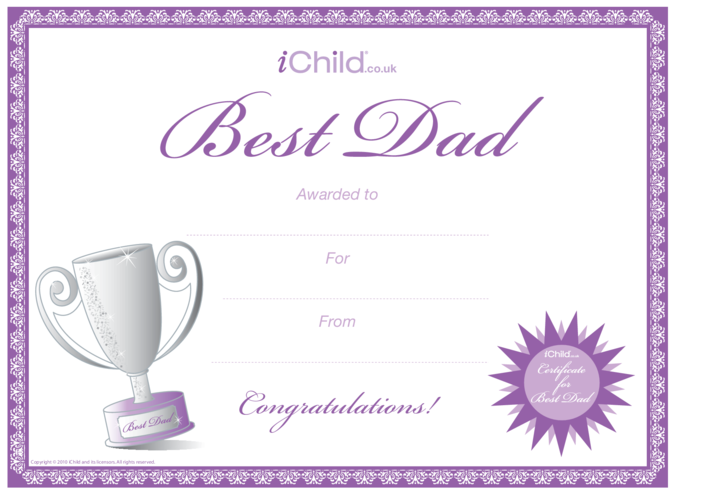 Thumbnail image for the Best Dad Certificate activity.