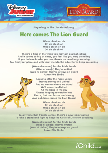 Thumbnail image for the The Lion Guard Lyrics- Disney Junior activity.