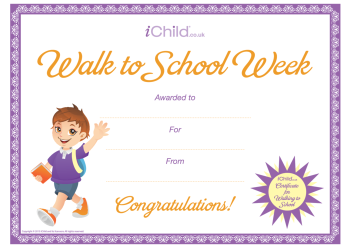 Thumbnail image for the Walk to School Certificate (purple border) activity.