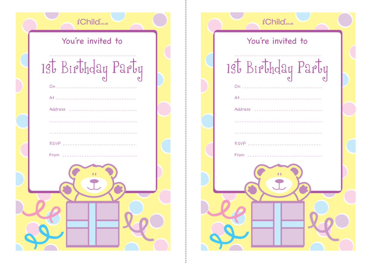 Birthday Party Invitation Templates for 1 year old 1st birthday