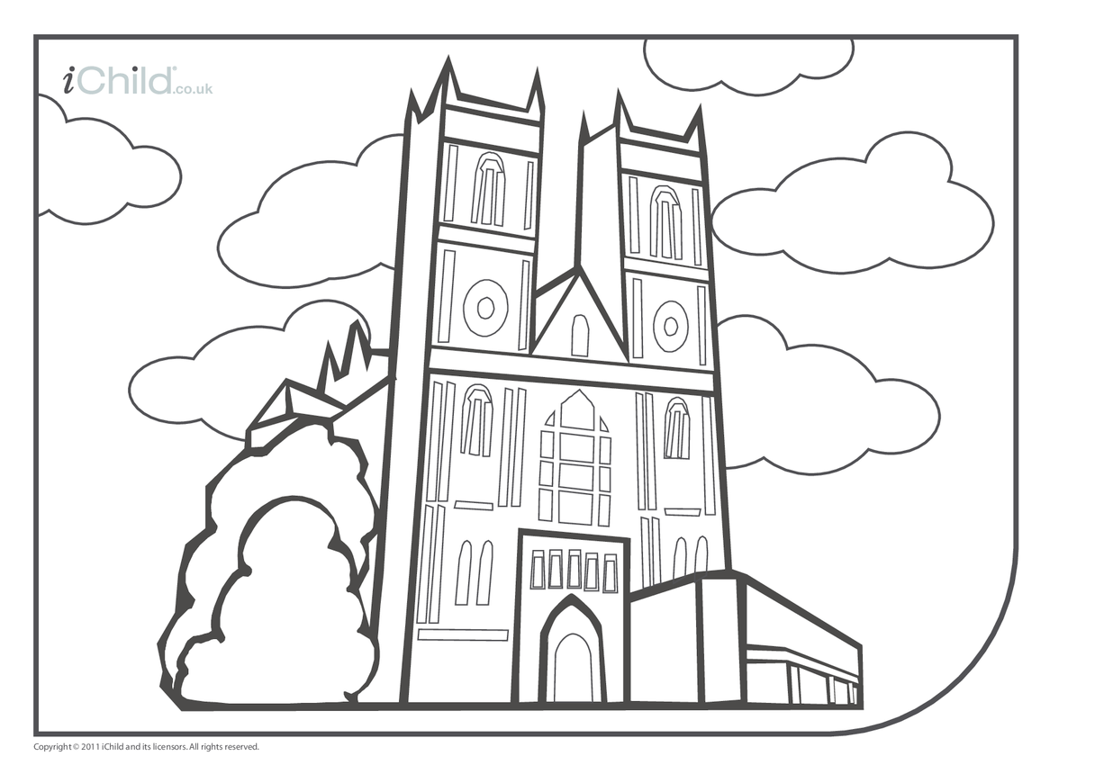 Westminster Abbey Colouring in picture