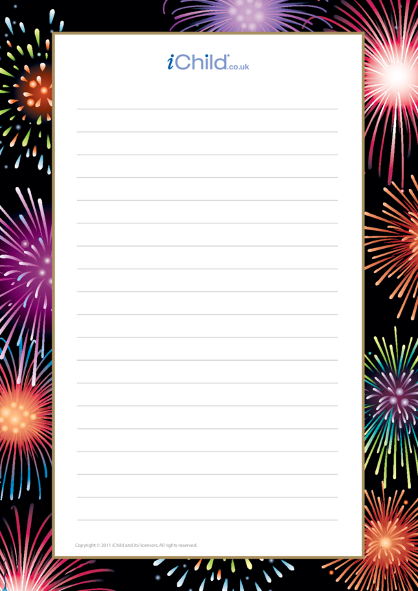 Fireworks Lined Writing Paper Template