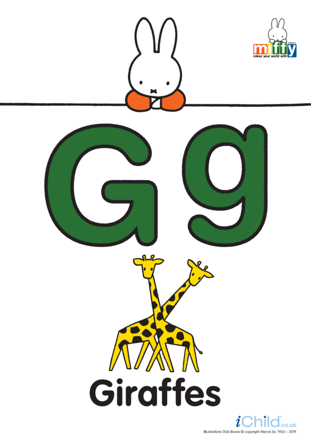 G: Miffy's Letter Gg (less ink)
