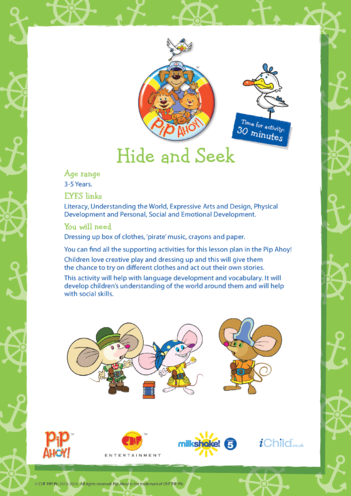 Thumbnail image for the EYFS Lesson Plan: Hide & Seek (Pip Ahoy!) activity.