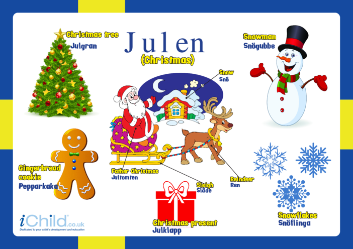 Thumbnail image for the Christmas Words in Swedish activity.