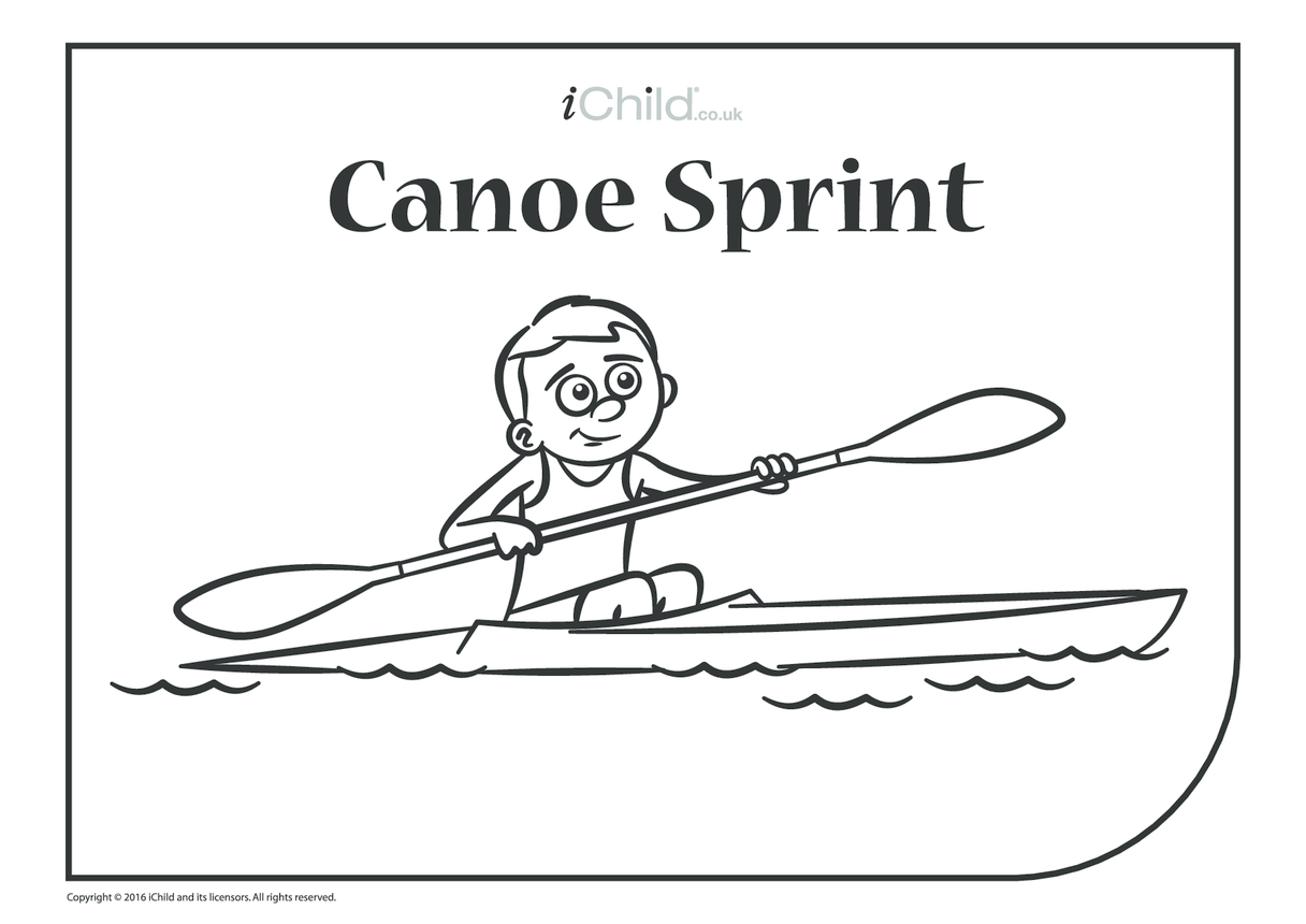 Canoe Sprint Colouring in Picture