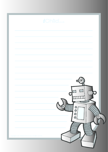 Thumbnail image for the Robot Lined Writing Paper Template activity.