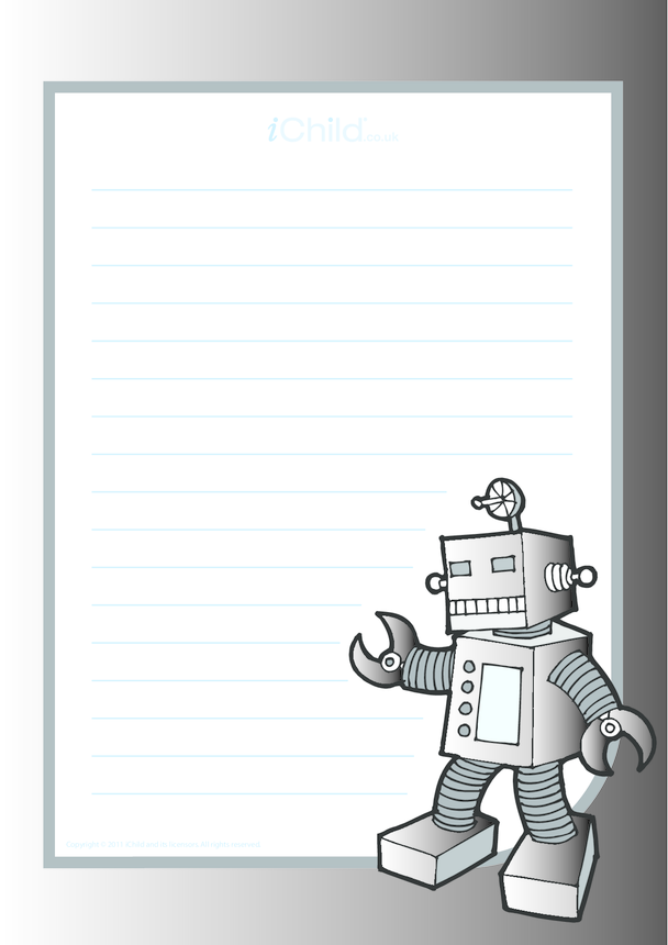 Robot Lined Writing Paper Template