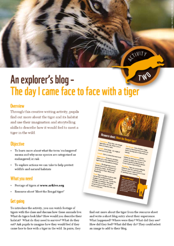 Thumbnail image for the WWF Tiger Explorer Blog activity.