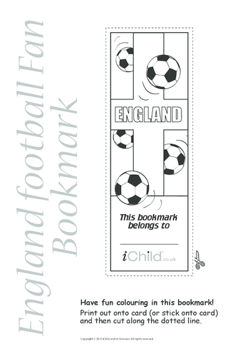 Thumbnail image for the England Football Bookmark activity.