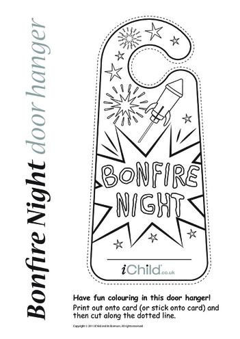 Thumbnail image for the Bonfire Night Door Hanger activity.