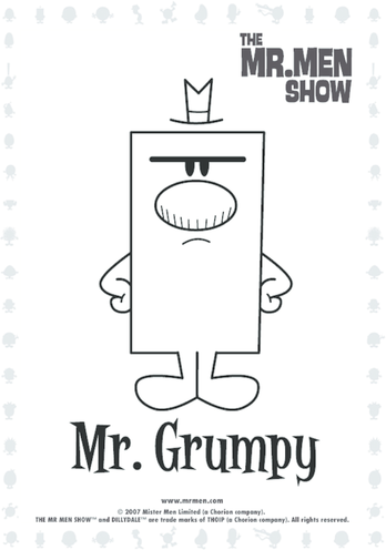 Thumbnail image for the Mr Grumpy Colouring in picture activity.