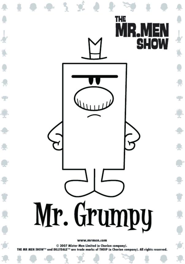 Mr Grumpy Colouring in picture