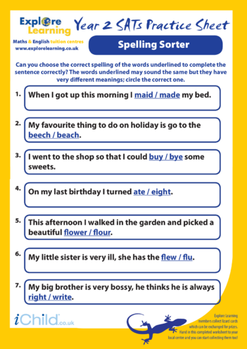 Thumbnail image for the SATS Practice Paper Year 2: Spelling Sorter activity.
