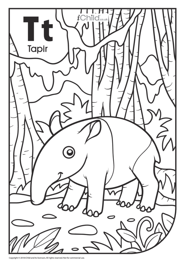 T is for Tapir Colouring in Picture