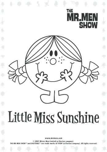 Thumbnail image for the Little Miss Sunshine Colouring in picture activity.