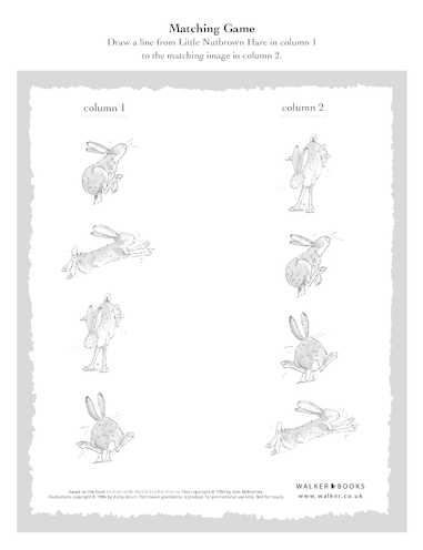 Thumbnail image for the Little Nutbrown Hare Matching Game activity.