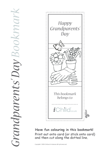 Thumbnail image for the Grandparents' Day Gardening Bookmark activity.