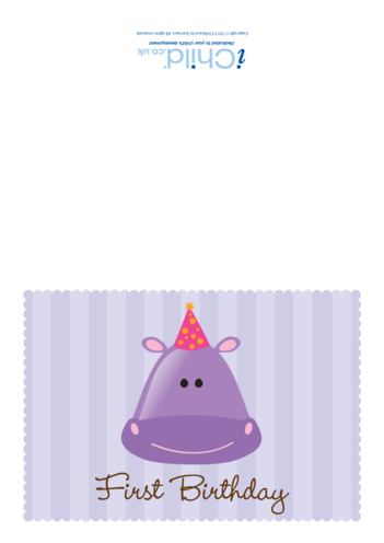 Thumbnail image for the First Birthday Card- Hippo activity.