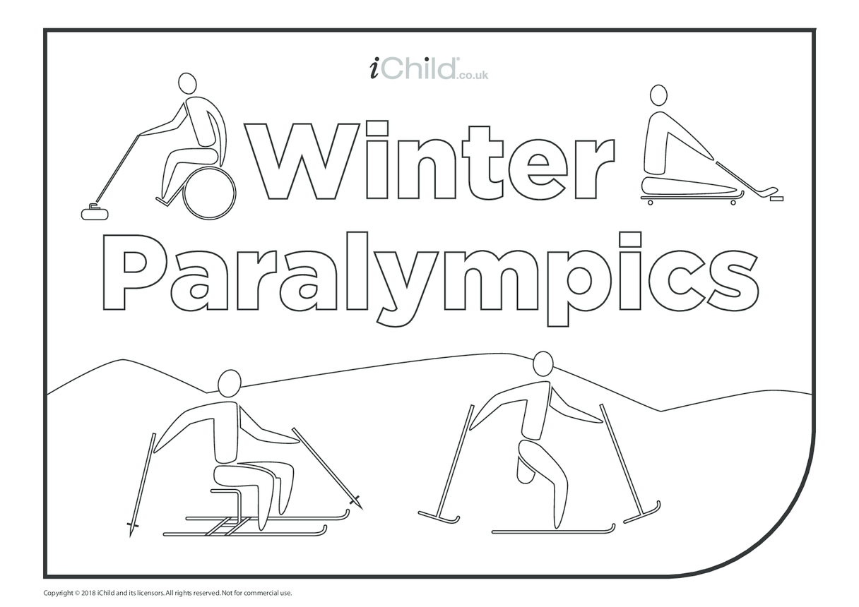 Winter Paralympics Colouring in Poster