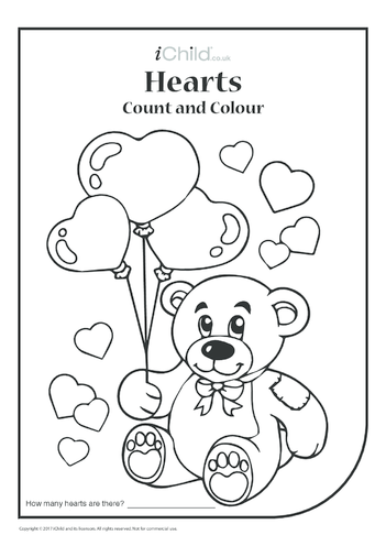 Thumbnail image for the Valentine Hearts Count & Colour activity.