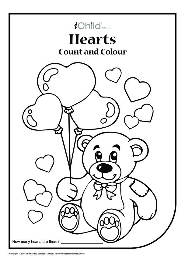 Valentine Hearts Count & Colour