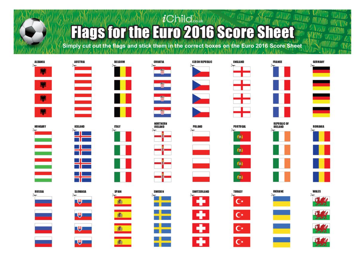 Euro 2016 Score Sheet Flags