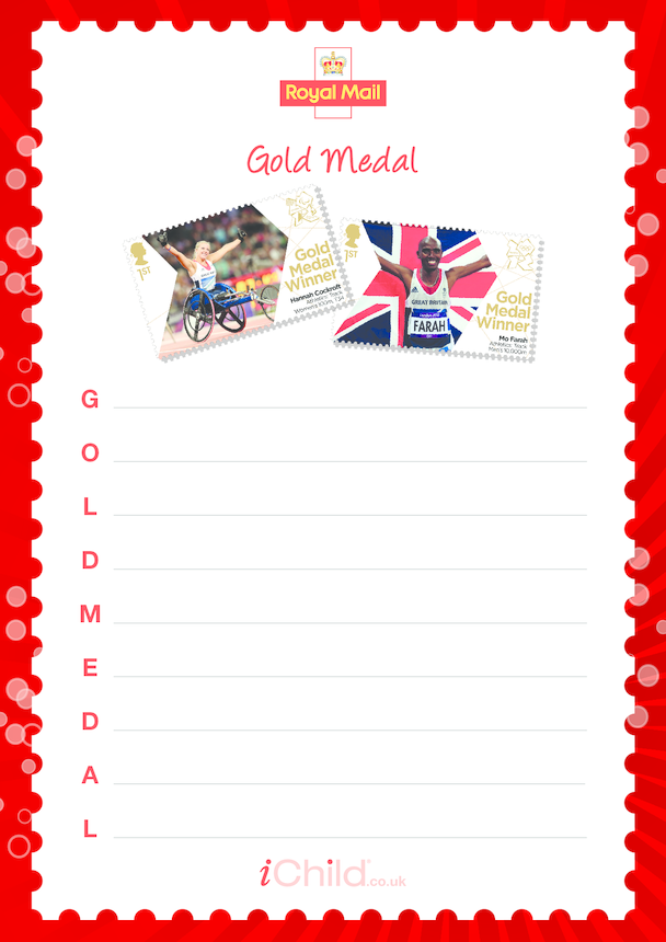 Royal Mail Sporting Dreams 'Gold Medal' Acrostic Poem